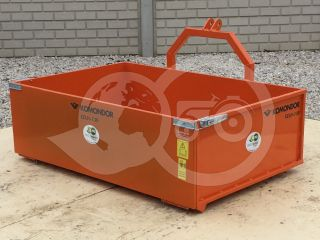 Transport box 130 cm, for Japanese compact tractors, drop down tailboard, Komondor SZLH-130 (2)