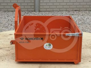 Transport box 130 cm, for Japanese compact tractors, drop down tailboard, Komondor SZLH-130 (5)