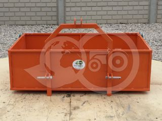 Transport box 130 cm, for Japanese compact tractors, drop down tailboard, Komondor SZLH-130 (7)