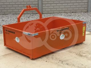 Transport box 130 cm, for Japanese compact tractors, drop down tailboard, Komondor SZLH-130 (4)