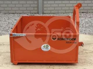 Transport box 130 cm, for Japanese compact tractors, drop down tailboard, Komondor SZLH-130 (1)